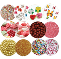 Various edible decoration items